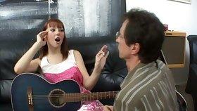 A sexy redhead teacher her guitar teacher to be a perfect pussy licker