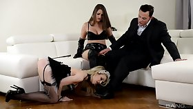 Strap-on diversion by way of hardcore FFM trio with Chessie Kay with the addition of Linda J.