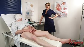 Patient jerks off his dick while busty Penny Lee teases him
