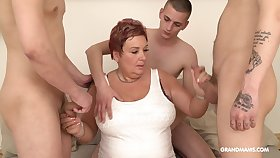 Oily old woman pays for gangbang all round three young guys