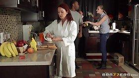 Redhead MILF Janet Mason gives a titjob plus gets a facial