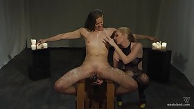 Lesbians use harsh action for their intimate femdom play