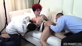Wild redhead maid Joslyn James gonna be pounded hard off out of one's mind black stud