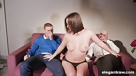 Curious Alysa Gap gives back her mouth and twat during threeway fun