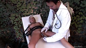 Naughty doctor tied up astonishing Jasmine Rouge about poke her holes