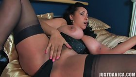 Kinky MILF Danica Collins moans while pleasuring her pussy