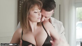 American bootyful Emily Addison wears only stockings during doggy fuck