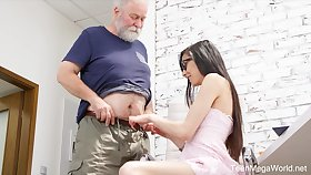 Naughty nerdy girl Ashely Ocean is punished by older vilification doggy