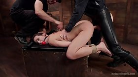 Gagged bitch fucked in merciless ways and forced to swallow
