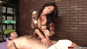 Lucky client gets his prick pleasured by a mature pornstar